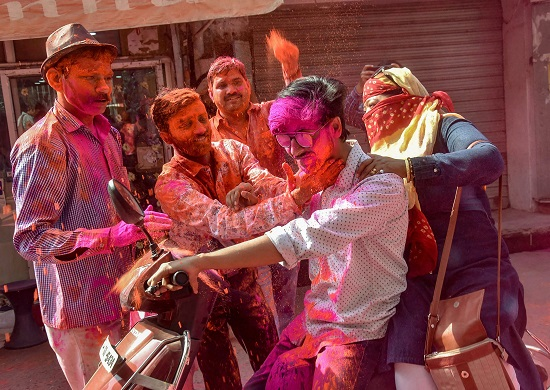 India Tv - Holi celebrations from Lucknow.