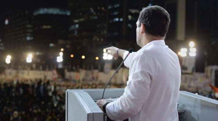 Mumbai: National Congress President Rahul Gandhi addresses a public meeting