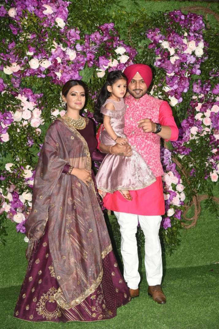 India Tv - Akash Ambani and Shloka Mehta wedding 2019: Harbhajan Singh and Geeta Basra