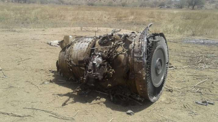 India Tv - An image from the site of crashed MiG 27 in Rajasthan's Sirohi