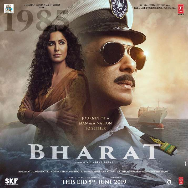 India Tv - Bharat Poster: Fourth look of Salman Khan as Navy officer along with Katrina Kaif.