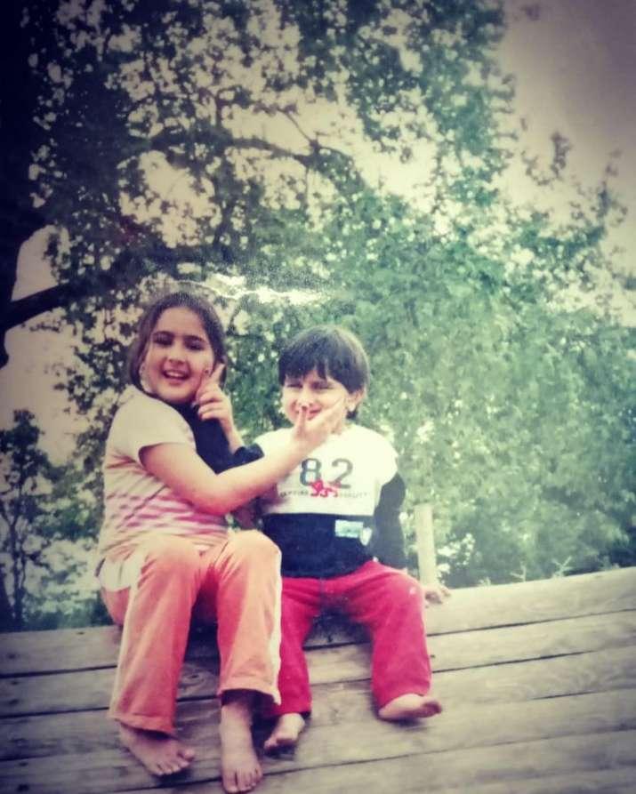 India Tv - Sara Ali Khan with brother Ibrahim Ali Khan on Siblings Day