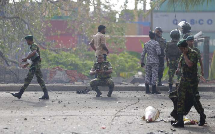 Sri Lankan security forces near St. Anthony's shrine after