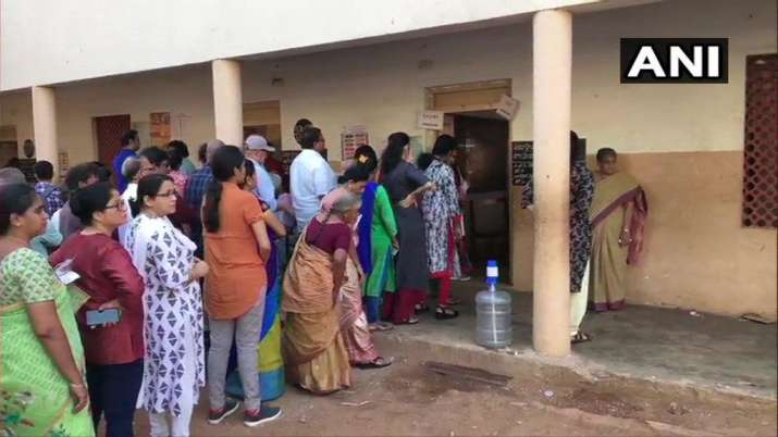 India Tv - Andhra Pradesh: Visuals from a polling booth in Vishapkhapatnam as voting begins for Lok Sabha Elections 2019.