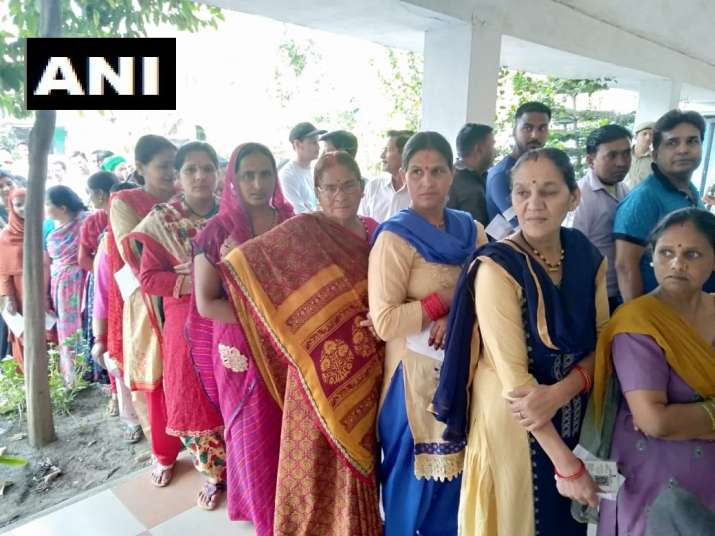 India Tv - Uttarakhand: Voting underway at booth number 4 in Haldwani for the Lok Sabha Elections 2019.