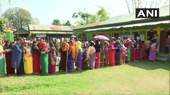 India Tv - Manipur: Voting underway at a polling station in Imphal, in Outer Manipur Lok Sabha constituency.