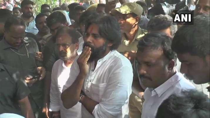India Tv - Andhra Pradesh: Jana Sena Chief Pawan Kalyan at the polling booth set up at Chaitanya School in Vijayawada.
