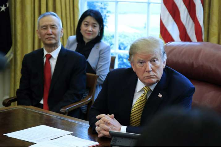 US President Donald Trump with Chinese Vice-premier Liu He