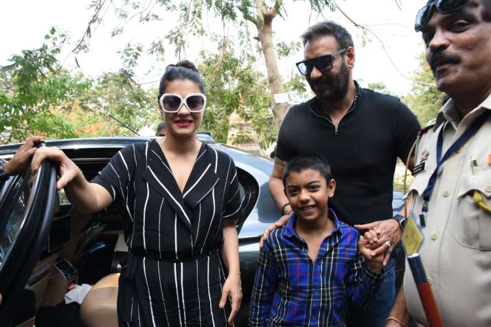 India Tv - Ajay Devgn with wife Kajol and son Yug