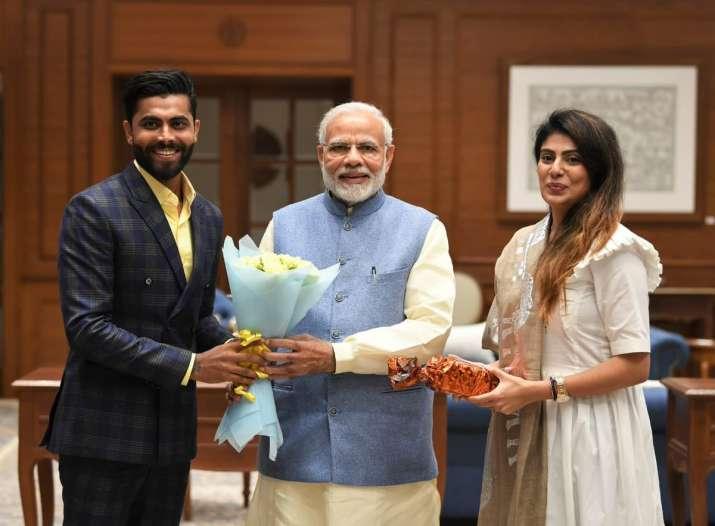 Cricketer Ravindrasinh Jadeja and his wife Rivaba meeting
