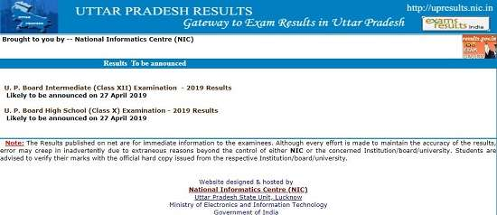 UP Board Class 12 Result 2019