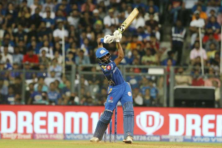 India Tv - Hardik Pandya taking out the 'helicopter' in IPL 2019