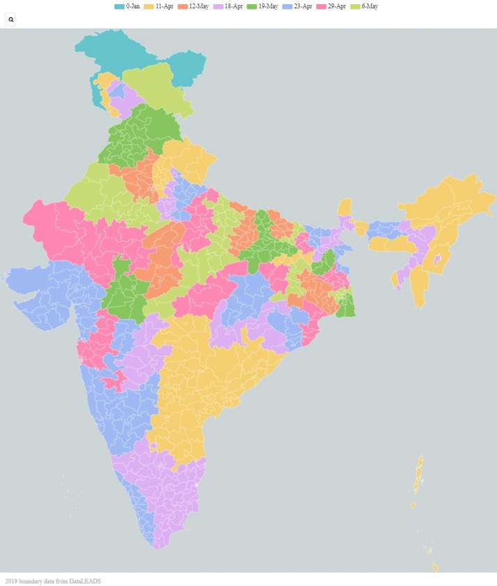 India Tv - India's map showing the date of polling in all constituencies