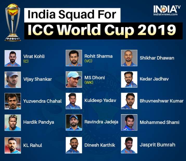 live updates bcci announces india s 15 member world cup squad