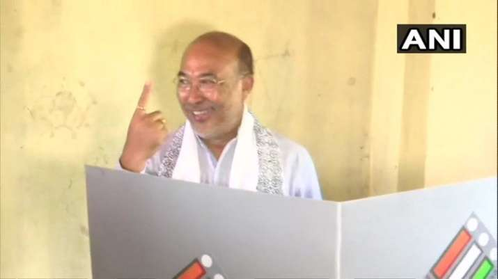 India Tv - Manipur Chief Minister N. Biren Singh casts his vote at a polling booth in Imphal