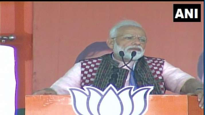 Prime Minister Narendra Modi while addressing a rally in