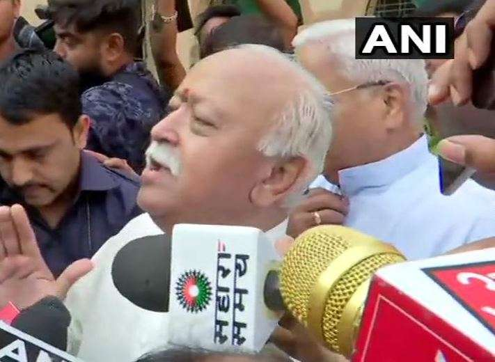 RSS chief Mohan Bhagwat after casting vote in Nagpur