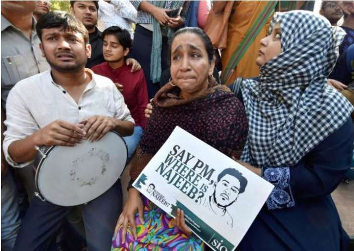 Najeeb Ahmed's mother at a protest