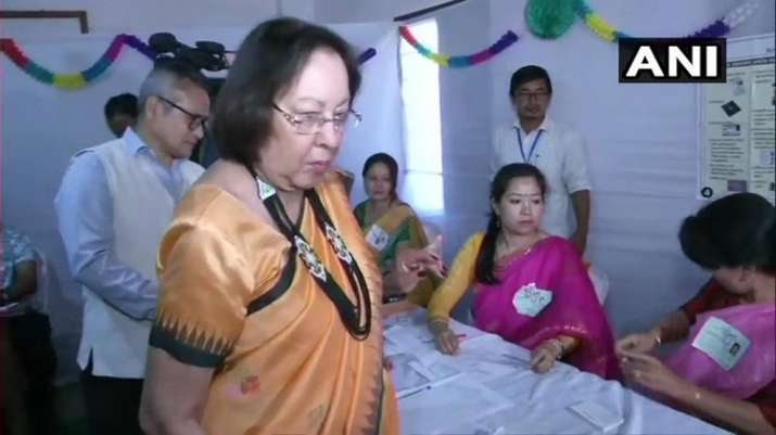 India Tv - Manipur: Governor Najma Heptulla casts her vote at a polling station in Imphal