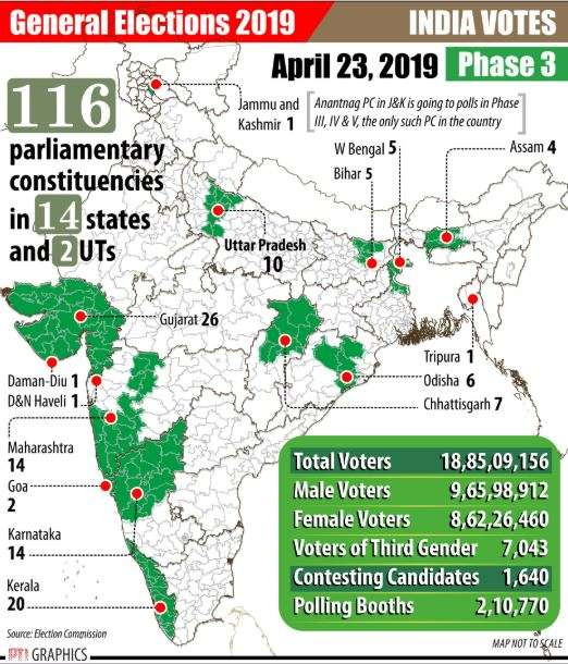India Tv - Phase 3 of Lok Sabha polls maps