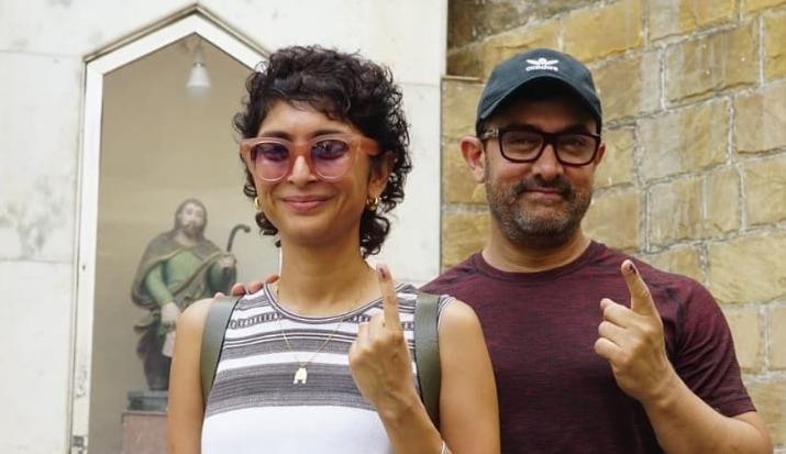 Aamir Khan walks hand-in-hand with wife Kiran Rao to cast vote in elections 2019; cracks a joke