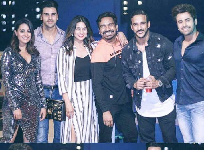 India Tv - Divyanka Tripathi, Vivek Dahiya, Rohit Reddy, Anita Hassanandani at Anita's birthday party