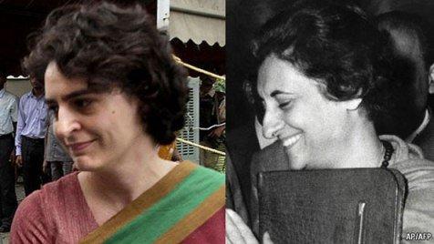 India Tv - Priyanka Gandhi (Left), Indira Gandhi (Right)