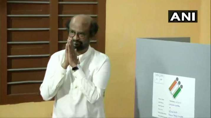 India Tv - Actor turned politician Rajinikanth casts his vote at the polling station in Stella Maris College, in Chennai Central