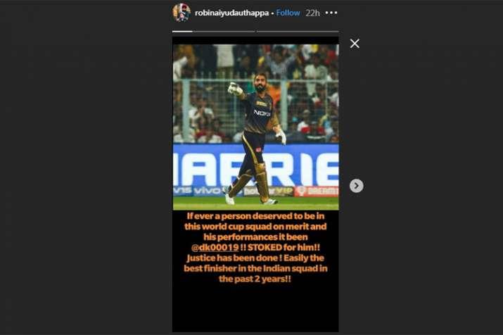 India Tv - Robin Uthappa Instagram story