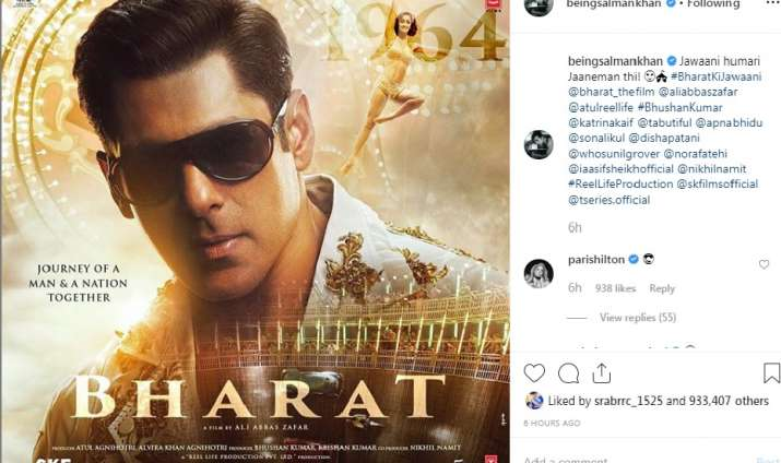 India Tv - Paris Hilton's reaction on seeing Salman Khan's look from Bharat