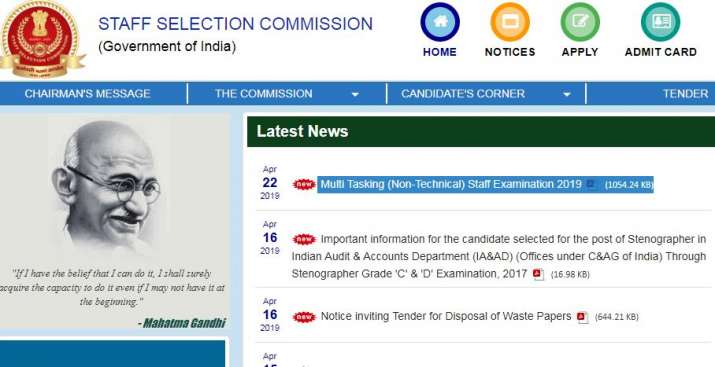 SSC MTS recruitment 2019 notification released @ ssc.nic.in