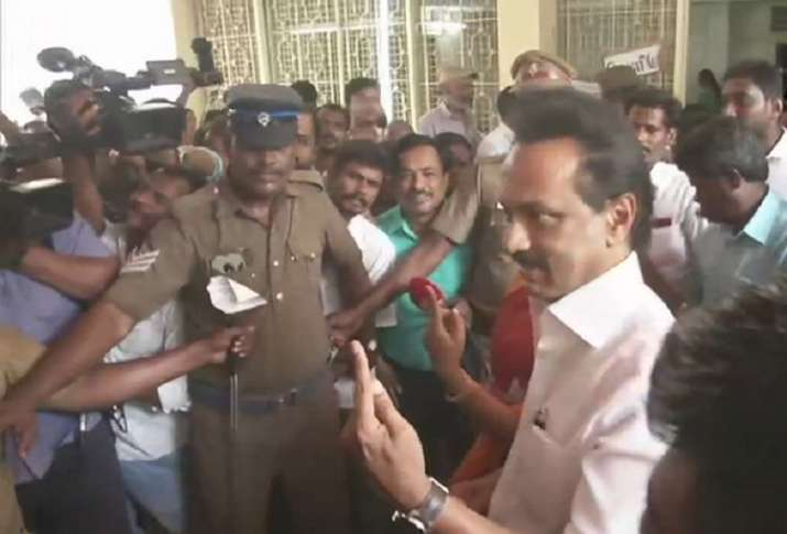 India Tv - Chennai: DMK President MK Stalin casts his vote at polling booth at SIET College in Teynampet