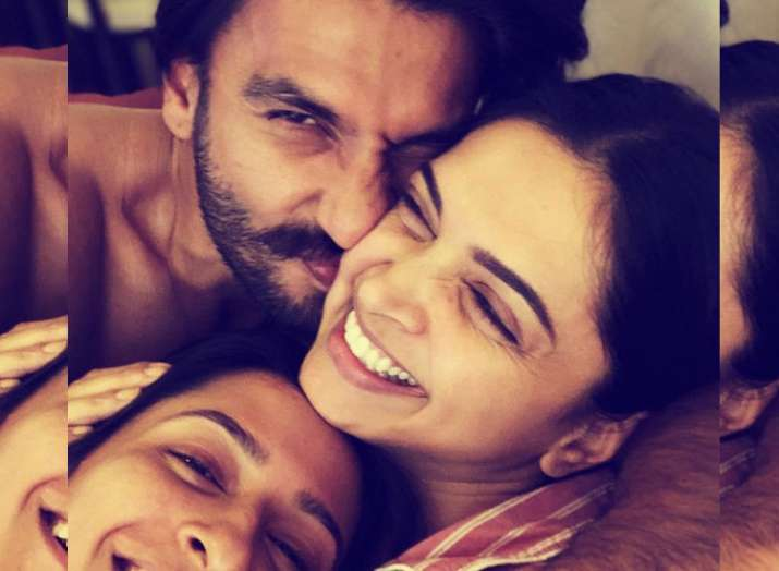 Deepika Padukone's new picture with Ranveer Singh and sister Anisha is all about 'cuddles & snuggles