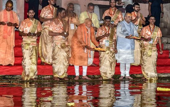 India Tv - PM Modi during Ganga Aarti