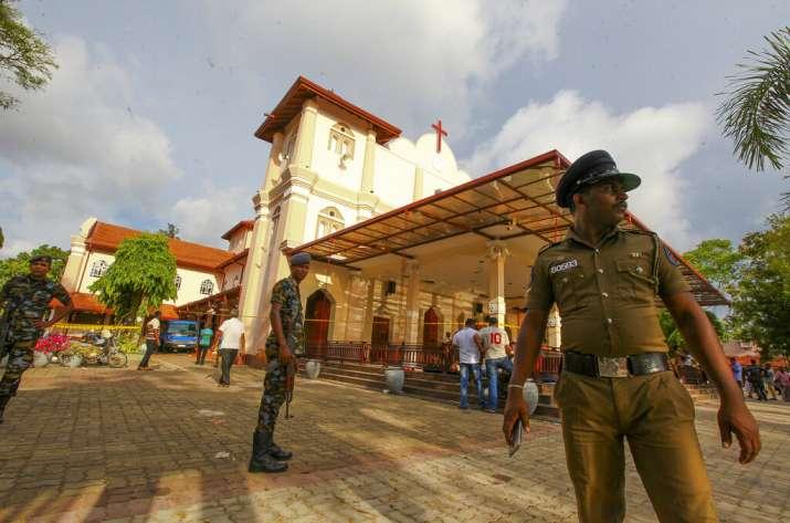 Sri Lankan army secure the area around St. Sebastian's