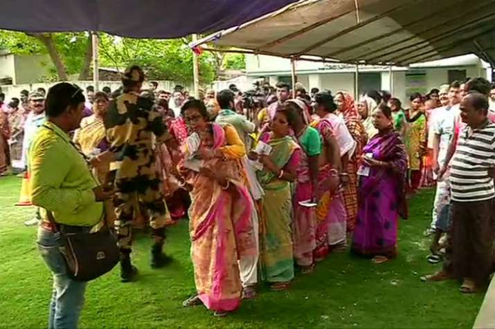 People of West Bengal standing at a polling booth