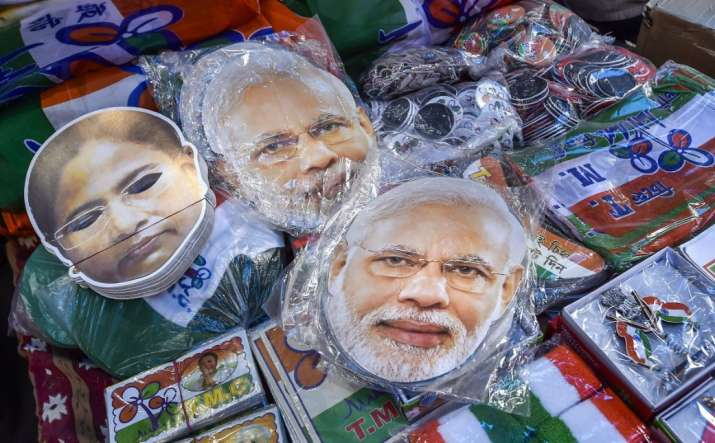 Kolkata: A display of masks of Prime Minister Narendra Modi and West Bengal Chief Minister Mamata Ba