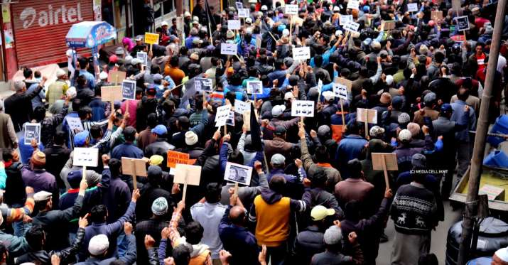 India Tv - People flock to streets protesting the rape of a minor girl in Bandipora