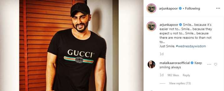 India Tv - Malaika Arora wants Arjun Kapoor to smile always, leaves the most adorable comment on his Instagram post