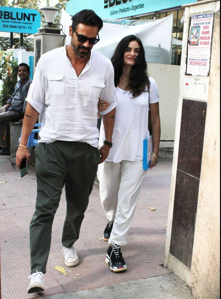 India Tv - Arjun Rampal and Gabriella Demetriades fling couple goals while twinning in white; See in LATEST PIC