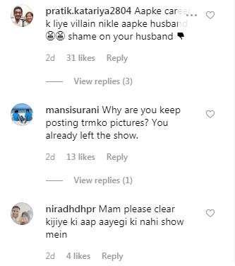 India Tv - Dayaben's Instagram comments