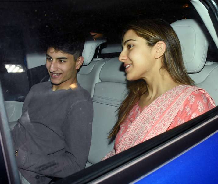 India Tv - Sara Ali Khan with brother Ibrahim Khan showed up at Saif Ali Khan's residence.