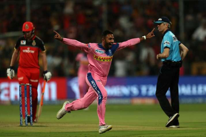 India Tv - Shreyas Gopal picked up a hat-trick against RCB in Bengaluru