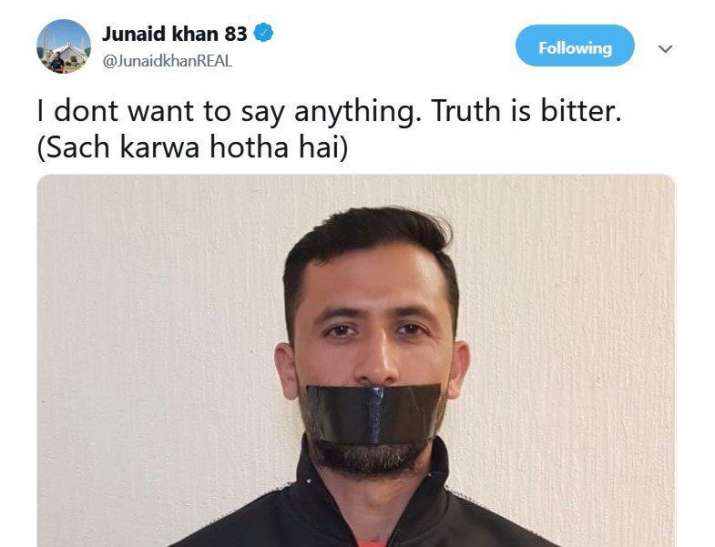 India Tv - Screenshot of Junaid Khan's deleted tweet.