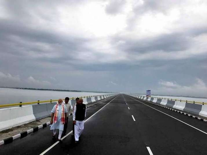 India Tv - Prime Minister Modi inaugurated the Dhola-Sadia bridge. it was inaugurated on May 26, 2017. The bridge is constructed on Lohit River – a tributary of Brahmaputra river and connects Dhola in the south to Sadia in the north. With a total length of 9,150 meters, this bridge now occupies the top position in the list of longest bridges in the country. It is the first permanent road connection between northern Assam and eastern Arunachal Pradesh.