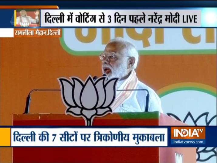 PM Modi addresses his mega 2019 rally at Ramlila Maidan
