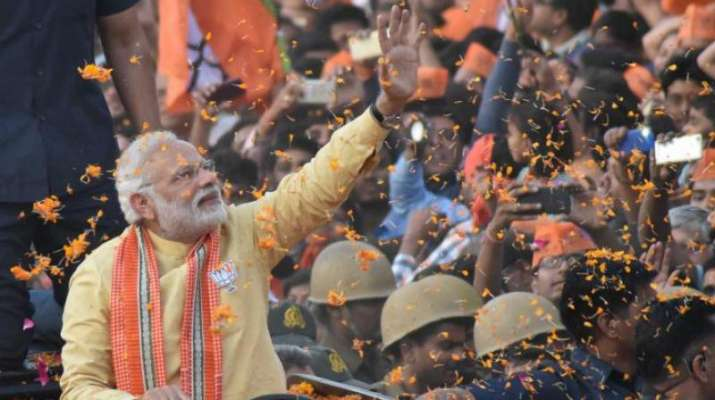 Prime Minister Narendra Modi in his constituency of