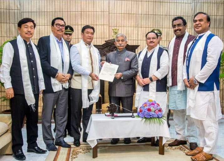 BJP Legislature Party leader Pema Khandu, accompanied by