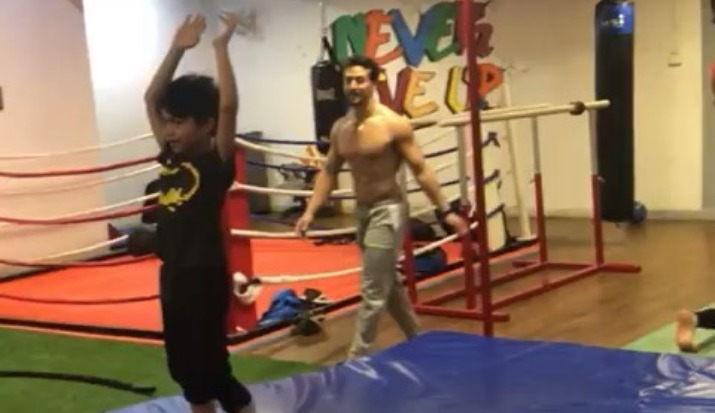 Tiger Shroff trains Shilpa Shetty's son Viaan Raj Kundra, Gymnastic- Watch Viaan's first back flip