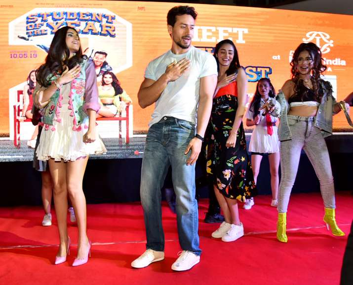 India Tv - SOTY 2 actors Tiger Shroff, Tara Sutaria, and Ananya Panday promote their film in Delhi
